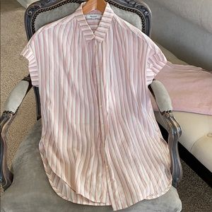 Madewell pink striped button shirt small
